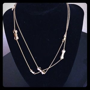 Kate Spade gold bow necklace with rhinestones